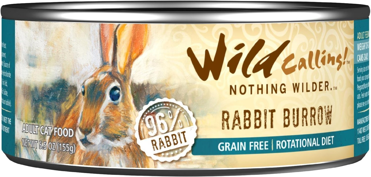 An image of Wild Calling Wet Cat Food: Rabbit Burrow which is considered a best cat food